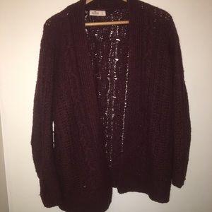 4/$20 Hollister Red Burgundy Knit Cardigan Sweater